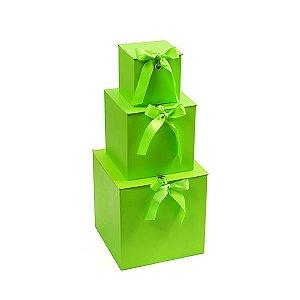 Caixa Quadrada com Laço Verde - Kit com 3 Unidades