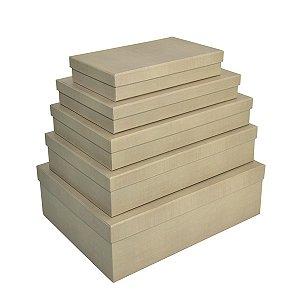 Caixa Retangular Baixa Linho - Kit com 5 Unidades