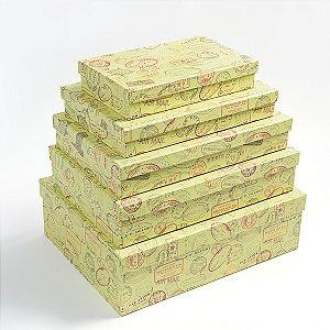 Caixa Retangular Baixa Selos - Kit com 5 Unidades