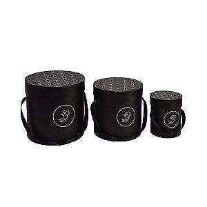 Caixa Redonda Alta Bloombie Preto - Kit com 3 Unidades