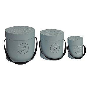 Caixa Redonda Alta Bloombie Azul Claro - Kit com 3 Unidades