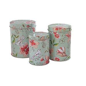 Lata Flores e Pássaros - Kit com 3 Unidades