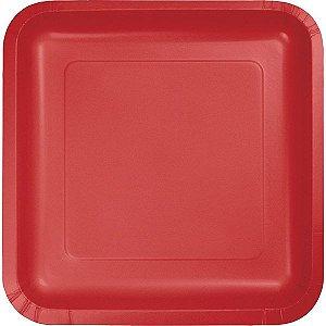 Prato Quadrado Liso - 18 cm - Embalagem com 10 unidades