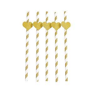 Canudo com Tag Coração Dourado - 19.5 x 3.5  cm - Embalagem com 5 unidades.