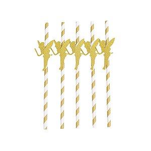 Canudo com Tag Fada Dourado - 19.5 x 3.5 cm - Embalagem com 5 unidades