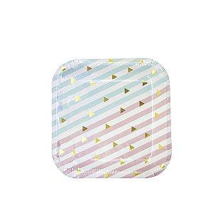 Prato Quadrado Sweet - 18 cm - Embalagem com 10 unidades