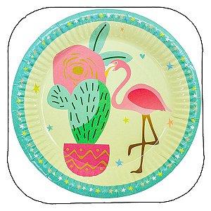 Prato Flamingo - 18 cm - Embalagem com 10 unidades