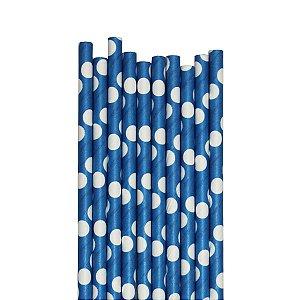 Canudo Azul Bolas - 19.5 cm - Embalagem com 20 unidades