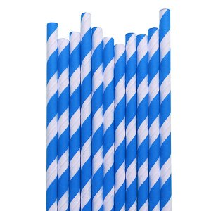 Canudo Azul Listras - 19.5 cm - Embalagem com 20 unidades