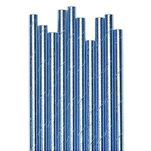 Canudo Blue Metalizado - 19.5 cm - Embalagem com 20 unidades