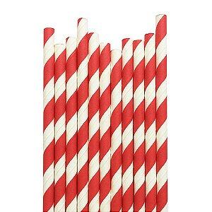Canudo Vermelho Listras - 19.5 cm - Embalagem com 20 unidades