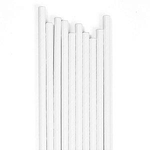 Canudo Branco Liso - 19.5 cm - Embalagem com 20 unidades