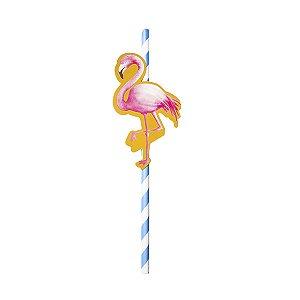 Canudo com Tag Flamingo - 19.5 cm - Embalagem com 20 unidades