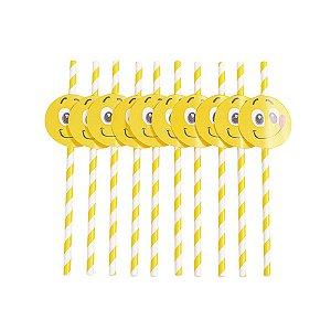 Canudo Emoji - 19 cm - Embalagem com 10 unidades