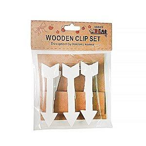 Clipe Madeira Flecha - 5 cm - Embalagem com 6 unidades