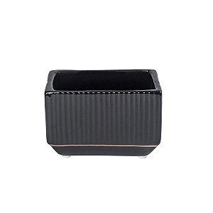 Vaso Cerâmica Quadrado Black - 6.5 x 10 x 5.5 cm - 1 Unidade