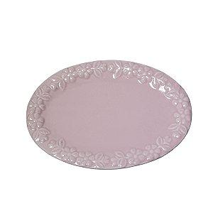 Prato Cerâmica Rosado Rendado - 21 x 15 cm - 1 Unidade