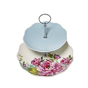 Suporte CerÂmica para Doces ou Salgados Floral 2 andares - 21 x 25 cm - 1 Unidade
