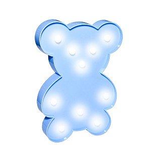 Ursinho Luminoso Led Azul - 26 x 28 cm - 1 Unidade