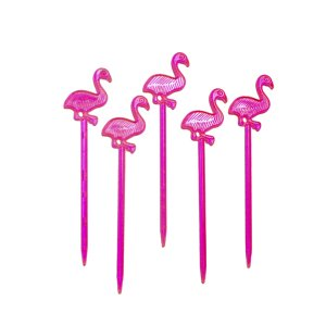 Topper para Doces ou Salgados Plástico Flamingo - 7.5cm - 30 Peças