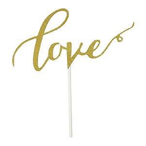 Topo para Bolo - Love Dourado - 18.5 cm - 1 Unidade