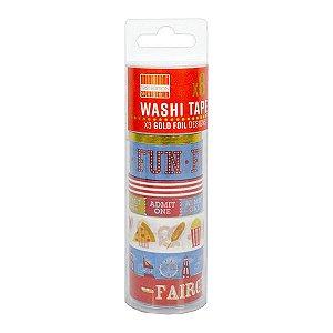 Tubo Fita Adesiva Washi Tape Funny - 1,5 cm x 5 m. 1 Unidade