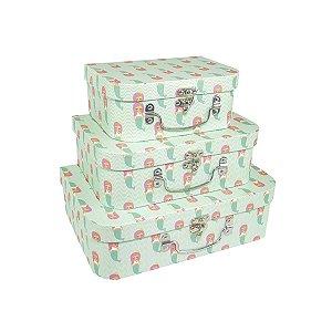 Caixa Maleta Sereia - Kit com 3 Caixas