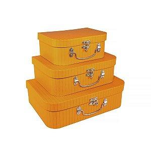 Caixa Maleta Laranja Hermes - Kit com 3 Caixas