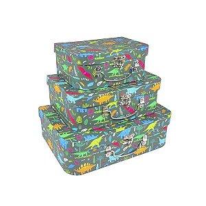 Caixa Maleta Dinossauro - Kit com 3 Caixas