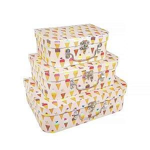 Caixa Maleta Sorvete - Kit com 3 Caixas