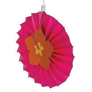 Leque de Papel com Aplique 3D Flor de Hibisco Pink - 1 Unidade