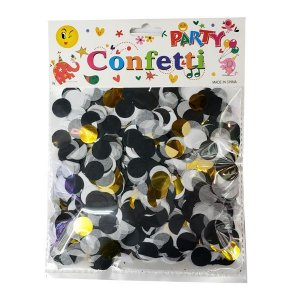 Confete de Papel Preto/Branco/Gold - 1 Unidade