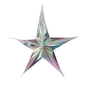 Enfeite de Papel Estrela Furta-Cor M - 1 Unidade