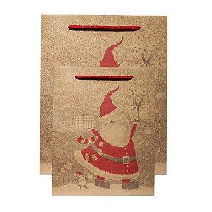 Sacola Kraft Feliz Natal - 12 Peças - Estampas Sortidas