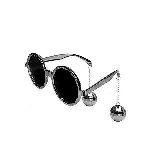 Óculos de Plástico Disco Club Silver - 1 Unidade