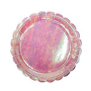 Prato Papel Redondo Furta-cor Rosa - 8pçs
