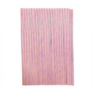 Canudo Papel Furta-cor Rosa - pacote com 12 canudos