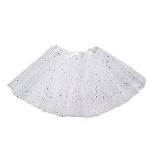 Saia Branca Infantil Tule Glitter - 2 camadas -1 Unidade