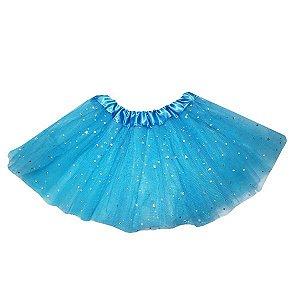 Saia Azul Infantil Tule Glitter - 2 camadas - 1 Unidade