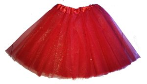 Saia Adulto Vermelho Tule Glitter - 1 Unidade
