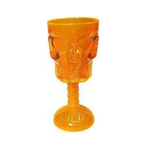 Taça de Plástico Caveira Laranja - 1 Unidade