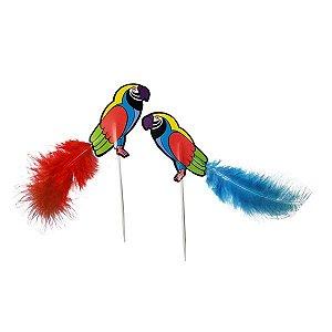Topo de Bolo Plumas Bird - Pacote com 5 Unidades