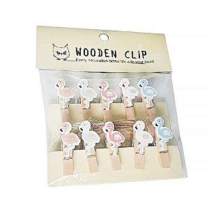 Mini Pregador Flamingo - Embalagem com 10 Unidades
