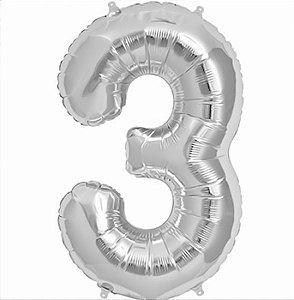Balão Decorativo Número 3  - 1 Unidade