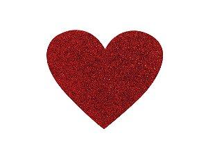 Coração G E.V.A com Glitter Varias Cores - 6 Unidades