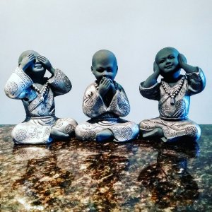 Trio de Budas Sábios Cor Metal Gray