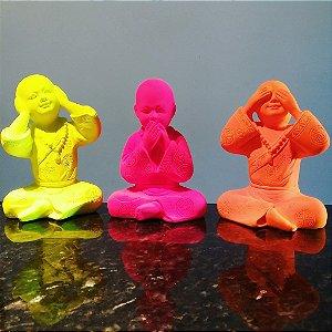 Trio de Budas Sábios Fluorescentes