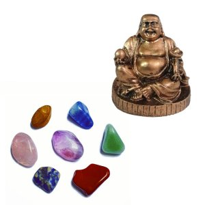 Escultura Buda da Fartura + Kit 7 Pedras Dos Chakras