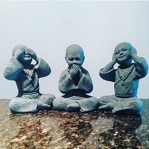 Trio de Budas Sábios Gray