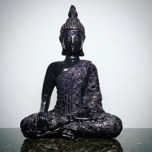 Big Buda Bhumisparsha Mudra Black Piano